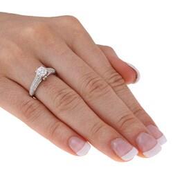 Miadora 14k Gold 1ct TDW Diamond and Pink Sapphire Engagement Ring (H-I, I2-I3) - Thumbnail 2