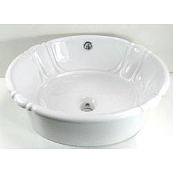 DeNovo Self-Rimming Decorative Porcelain White Bathroom Sink - Thumbnail 2