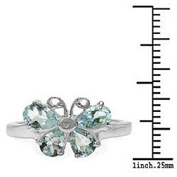 Malaika Sterling Silver Aquamarine and Diamond Accent Butterfly Ring - Thumbnail 2
