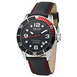 Golana Swiss Men's 'Aqua Pro 200' Steel Case Leather Strap Watch - Thumbnail 2