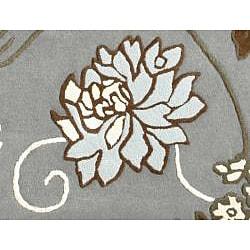 Handmade Aurora Rose Garden Steel Grey Wool Rug (4' x 6') - Thumbnail 2