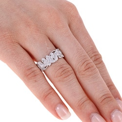 Tacori IV Sterling Silver Cubic Zirconia Floral Design Eternity Band - Thumbnail 2