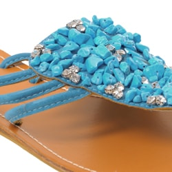 Bamboo by Journee Women's 'Midnight' Embellished Sandals - Thumbnail 2