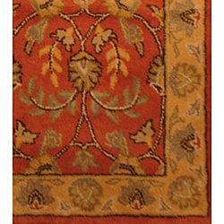 Indo Hand-tufted Kashan Rust Wool Runner (2'3 x 7') - Thumbnail 2