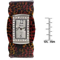 Geneva Platinum Women's Cubic Zirconia Accented Cuff Watch - Thumbnail 2
