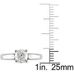 Miadora 14k White Gold 1ct TDW Diamond Solitaire Engagement Ring (H-I, I2-I3) - Thumbnail 2