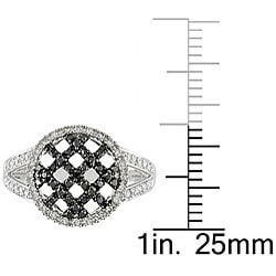 Miadora 10k White Gold 1/3ct TDW Black and White Diamond Ring - Thumbnail 2