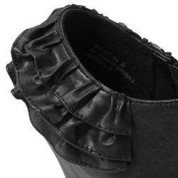 Bamboo by Journee Women's Ruffled Peep Toe Booties - Thumbnail 2