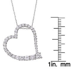 14k White Gold 1ct TDW Diamond Journey Heart Necklace (H, I1)