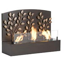 Vineyard Espresso Bronze Metal Wall Mount Fireplace - Thumbnail 2