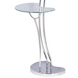 ... Modern Chrome Torchiere Floor Lamp/ Table
