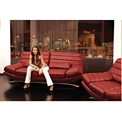 Red Leather Loveseat - Thumbnail 2