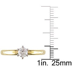 Miadora 18k Gold 1/2ct TDW Diamond Solitaire Engagement Ring (H-I, SI2) - Thumbnail 2