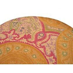 EORC Hand-tufted Wool Orange Paisley Rug (6' Round)
