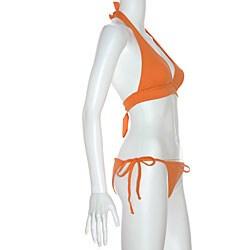 Cot'n by Lucenti Women's Orange Halter String Bikini - Thumbnail 2