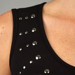 Backless Women's Black Sleeveless Studded Dress
