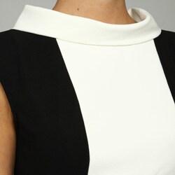 London Times Women's Black And White Banded-waist Dress - Thumbnail 2