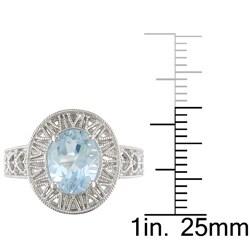 Miadora Sterling Silver Blue Topaz Fashion Ring