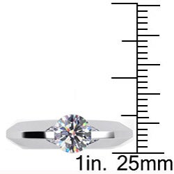 Danhov 14k Gold Cubic Zirconia and 1/10ct TDW Diamond Engagement Ring (G, VS2) - Thumbnail 2