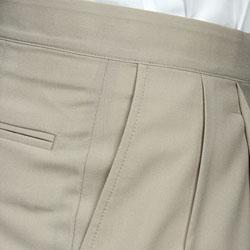Sansabelt Men's Natural Pleated Wool Trousers - Thumbnail 2