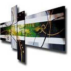 'Hand-painted Abstract 103' Gallery-wrapped Canvas Art Set