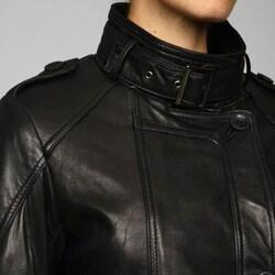Collezione Italia Women's Leather Asymmetrical Placket Trench - Thumbnail 2