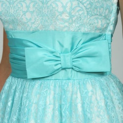 Betsey Johnson Women's Strapless Lace Over Lay Party Dress - Thumbnail 2