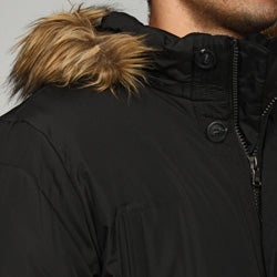 Calvin Klein Men's Faux Fur Trim Hooded Coat