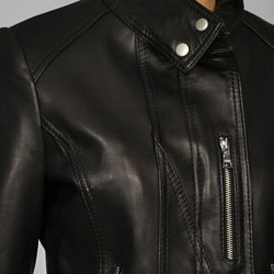 Thumbnail 3, IZOD Women's Plus Size Leather Moto Jacket. Changes active main hero.