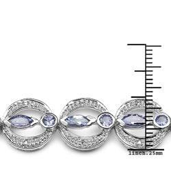 Malaika Sterling Silver Tanzanite and Diamond Accent Bracelet