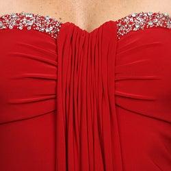 JS Boutique Womens Red Strapless Jersey Dress