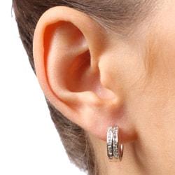 Sterling Essentials Sterling Silver Channel-set Cubic Zirconia Hoop Earrings