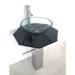 Brushed Stainless Steel Pedestal and Black Glass Countertop and Faucet Vanity - Thumbnail 2