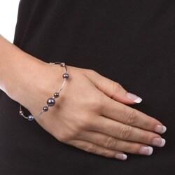 Kabella Sterling Silver Freshwater Pearl Bracelet (9 mm) - Thumbnail 2