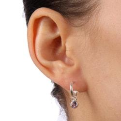Sterling Essentials Sterling Silver Amethyst Charm Semi-hoop Earrings - Thumbnail 2