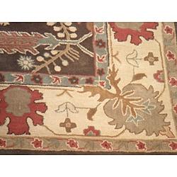 Indo Hand-tufted Mahal Brown Wool Rug (7'8 x 9'8)