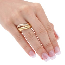 Cartier 18k Tricolor Gold Trinity Ring (Size 8)