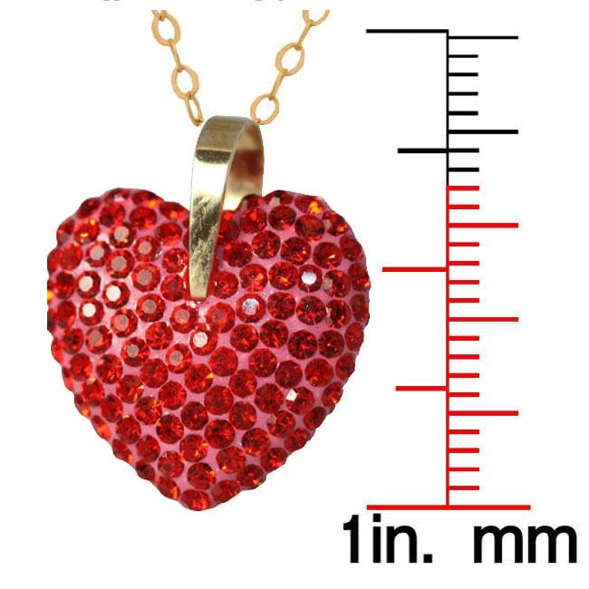 Gioelli 10K Yellow Gold Red Crystal Heart Neckalce