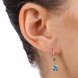 14k Yellow Gold Blue Topaz Leverback Earrings