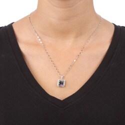 14k White Gold Mystic Topaz and 1/7ct TDW Diamond Necklace - Thumbnail 2