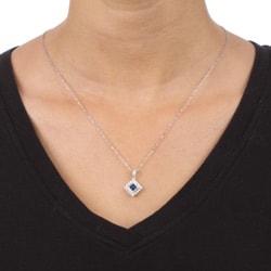 14k White Gold Sapphire and 1/6ct TDW Diamond Necklace (H-I, I1-I2) - Thumbnail 2