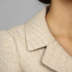 Tahari ASL Women's Beige 3-button Skirt Suit