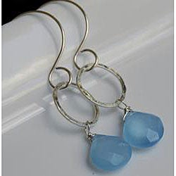 Sterling and Fine Silver with Light Blue Chalcedony Earrings - Thumbnail 2