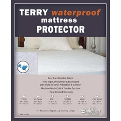 Terry Waterproof Twin/ Twin XL/ Full-size Mattress Protector - Thumbnail 2