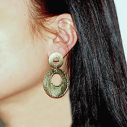 Adee Waiss 18k Yellow Gold Overlay Double Circle Earrings - Thumbnail 2