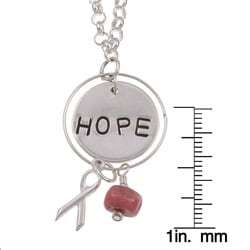 Aspiring Impressions Sterling Silver 'HOPE' Pink Riverstone Necklace - Thumbnail 2