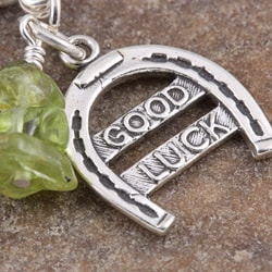 Fashion Forward Sterling Silver Good Luck Peridot Charm - Thumbnail 2