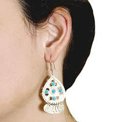 Adee Waiss Gold Overlay Turquoise Magnesite Dangle Earrings - Thumbnail 2