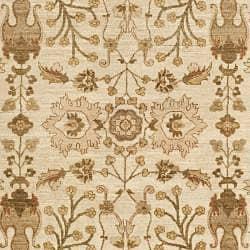 Pakistani Hand-knotted Peshawar Ivory/ Beige Wool Rug (8' x 10') - Thumbnail 2