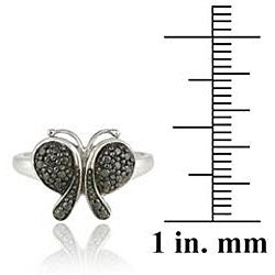 DB Designs Sterling Silver Black Diamond Accent Butterfly Ring - Thumbnail 2